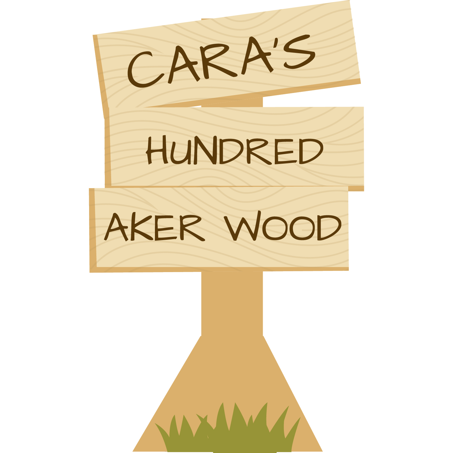Wooden Sign With Grass Named